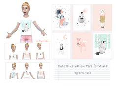 Cute Illustration Tees For Girls!   (6 Swatches)  Found in TSR Category 'sims 4 Female Child Everyday'