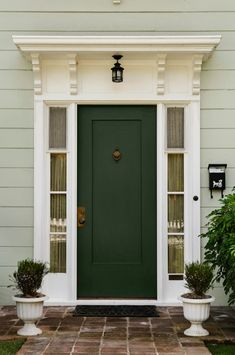 21 front door colors for tan house – frogtown gardens Best Front Door Colors, Best Front Doors, Green Front Doors, Front Door Paint Colors, Painted Front Doors, Front Door Design, Black Doors, Front Door Awning, Front Porch