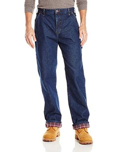 Nice Dickies Men's Relaxed Straight Flannel Lined Carpenter Jean