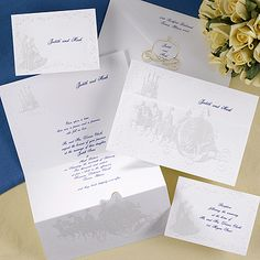 Disney Wedding Proclamation A creative use of a z-fold gives this ensemble the look of an official proclamation! Invite guests to your royal celebration with this impressive bright white, pearl embossed, die-cut enhanced wedding invitation. Cinderella Invitations, Fairytale Wedding Invitations, Cinderella Wedding, Geek Wedding, Dream Wedding, Wedding Things, Wedding Carriage, Wedding Accessories, Wedding Reception