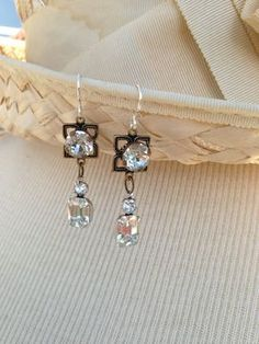Antique  Rhinestone assemblage earrings by OldNouveau on Etsy