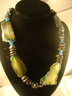 Chunky beaded agate large stone necklace best on etsy by yoyo9112, $150.00