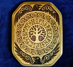 RESERVED. Runes, Ravens and Yggdrasil Wood Plaque with Viking knotwork via Etsy
