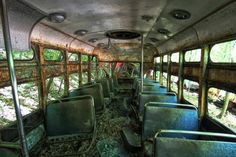 Once filled with people, the trains sit decaying on winding tracks.
