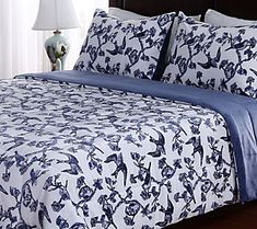 Berkshire Blanket Blue U0026 White Toile Print KingComforter Set