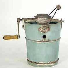 Ice cream maker, aqua, like my parents and grandparents used