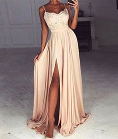 2017 prom dresses, long sexy prom dresses, spaghetti straps prom dresses, lace prom dresses, split prom dresses, evening dresses, party dresses, light champagne prom dresses#SIMIBridal #promdresses