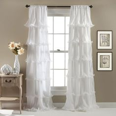 Shop for Lush Decor Nerina Ruffled Curtain Panel - x Get free delivery On EVERYTHING* Overstock - Your Online Home Decor Outlet Store! Get in rewards with Club O! Window Panels, Window Coverings, Window Curtains, Window Treatments, Curtain Panels, Shades Window, Closet Curtains, Closet Doors, Valance