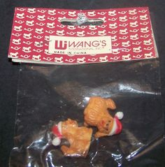 Vintage Mini Dogs with Christmas Hats Dollhouse Accessories Puppies #WangsInternational