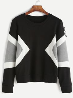 Black Contrast Panel Sweatshirt