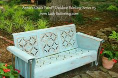 Vintage glider painted in color Provence...Chalk Paint® by Annie Sloan. Outdoor Painting Series found at Lady Butterbug's blog : http://www.ladybutterbug.blogspot.com/2011/05/chalk-paint-tutorial-series-for-outdoor_21.html