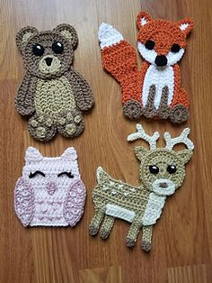 Crochet appliques pattern for bear, fox, owl and fawn