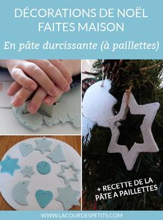 Easy DIY Christmas for children, from 2 years old: decorations for the tree to make with self-hardening glitter plasticine (with the recipe for making it homemade). A DIY to change balls; Christmas Crafts For Adults, Christmas Activities, Christmas Diy, Activities For Kids, Christmas Decorations, Diy Weihnachten, Xmas Tree, Halloween, Diy And Crafts