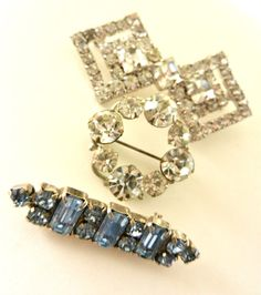 Tris of crystal brooches 1950/1960  Kramer signed by RAKcreations, $50.00