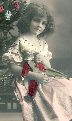 <3 Vintage Christmas Photo Postcard