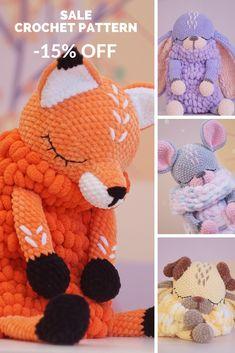 Amigurumi pattern Pajamas bag Easy Crochet Patterns Toy by FavoritePlushToys Crochet Cow, Crochet Elephant, Crochet Mouse, Manta Crochet, Crochet Bebe, Crochet Animal Patterns, Stuffed Animal Patterns, Crochet Patterns Amigurumi, Handmade Soft Toys
