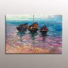Modern Art Abstract Oil Painting Seascape Sailing Boat Large Original Artwork Impasto Heavy Texture Painting Ready to Hang Vivid Color Modern Oil Painting, Oil Painting Abstract, Large Canvas Art, Abstract Canvas Art, Painting Edges, Texture Painting, Seascape Paintings, Landscape Paintings, Original Paintings