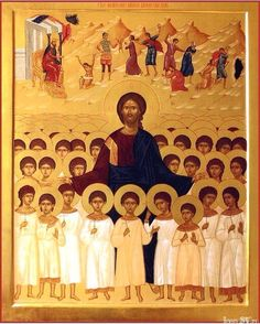 Icon of Christ and the Holy Innocents ( source ) An Orthodox Prayer for the Victims of Abortion O Lord Jesus Christ, the only-begott. Religious Pictures, Religious Icons, Religious Art, Byzantine Icons, Byzantine Art, Catholic Saints, Roman Catholic, Orthodox Prayers, Art Icon