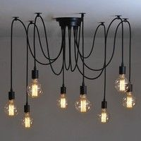Wish | 6/8 lights New lustre Retro chandelier loft Light Pendant Lights Wrought Iron Lamps American Country Style Restaurant Bar Industrial Warehouse chandelier 85V-260V Wire length 45(in)