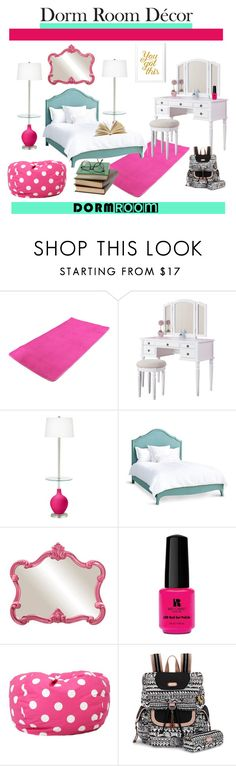 """""""Dorm Room Decor!"""" by mrsawildarivera ❤ liked on Polyvore featuring interior, interiors, interior design, home, home decor, interior decorating, Poundex, Redford House, Howard Elliott and Red Carpet Manicure"""