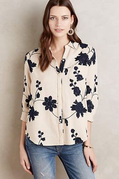 Embroidered Shadowbloom Buttondown - anthropologie.com