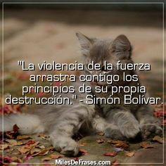 """""""La violencia de la fuerza arrastra contigo los principios de su propia destrucción."""" - Simón Bolívar."""