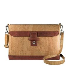 Small Briefcase for Men Vegan - Light Brown and Red Cork. Find vegan briefcases with an adjustable shoulder strap, an Eco-Friendly product.