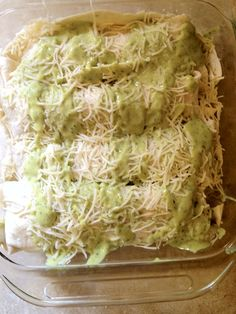 Cilantro Lime Chicken Enchiladas with Avocado cream sauce.