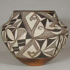 "#adobegallery #AcomaPuebloPottery #SouthwestIndianPottery - Acoma Pueblo Polychrome Olla with Black-on-white Design. Category: #Historic Origin: #AcomaPueblo Medium: clay, pigment Size: 8-1/4"" tall x 10-3/8"" diameter Item # C3654B"