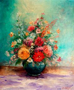 'Flowers IV' oil painting by Miroslav Stojkovic - £520