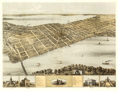 Vintage Map - Madison, Wisconsin 1867.