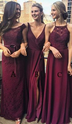 Multi Styles A-Line Floor-Length Burgundy Bridesmaid/Prom/Evening Dress with Lace,N583 #burgundy #wedding #bridesmaiddress #women #2018 #prom #longdress #love