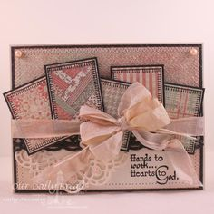 SC504 Sewing by cathymac ~ Sentiment is too religious for my taste, but love the quilted look to this ~ Stamps: Sewing ~ Paper: Vintage Cream, Smokey Shadow, Soulful Stitches Paper Collection (ODBD) ~ Ink: Watering Can Archival, Pumice Stone Distress ~ Accessories: ODD Custom Beautiful Border Die, ODBD Custom Doily Die, SB Rectangle Nestie, Canvas Impression Plate, Sewing Machine, Seam Binding, Pearls