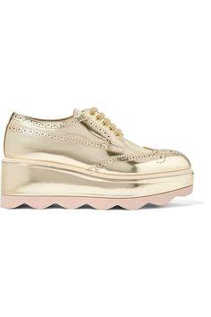 be804a65486 PRADA Metallic Leather Platform Brogues.  prada  shoes  flats Metallic  Oxfords