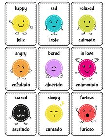 Print and cut the flash cards to learn about emotions in both languages.                                                                                                                                                                                 More