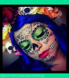 Beautiful day of the dead makeup with excellent tutorial and product tips.