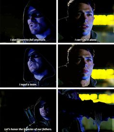"""I don't want to fail anymore. I can't do it alone. I need a team"" - Oliver and Rory #Arrow"