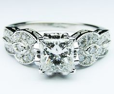 Engagement Ring - Princess Cut Diamond engagement Ring Pave band in 14K White Gold - ES722