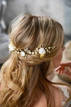 Ivory Gold Bridal hair piece Gold Bridal headpiece Bridal
