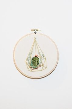 This Koe-Zee green succulent terrarium embroidery is the cutest new addition to your home. You don't even have to water it! PIPE AND ROW