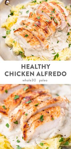 Healthy Chicken Alfredo (Paleo, Dairy Free) A rich and creamy chicken alfredo that's super healthy! Quick and easy to throw together, this healthy chicken alfredo recipe uses a dairy-free cashew alfredo sauce and spaghetti squash noodles. Paleo and Healthy Drinks, Healthy Dinner Recipes, Whole Food Recipes, Diet Recipes, Paleo Chicken Recipes, Easy Healthy Chicken Recipes, Healthy Quick Meals, Quick And Easy Recipes, Health Food Recipes