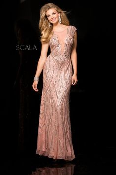 e53872cfe41 Scala 48689 Cap Sleeve Beaded Prom Gown