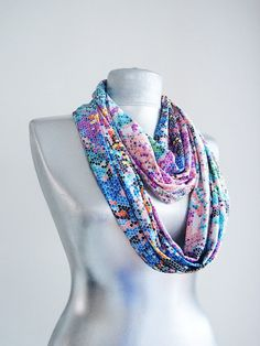 Handmade Colorful Pixel Infinity Scarf  Summer Scarf  by Urbe, $20.00