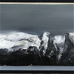 Ørnulf Opdahl: Vestkyst, 70 x 240 cm Abstract Landscape, Landscape Paintings, Abstract Art, Great Works Of Art, Snow Mountain, Encaustic Painting, Oslo, Kyffin Williams, Black And White