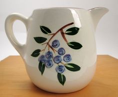 Stangl Pottery Blueberry milk juice pitcher holds 24 ounces vintage #Stangl