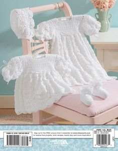 Christening Sets to Crochet eBook - There's a new family member on the way! Celebrate the little one's arrival by creating a special christening layette. You want the best for Baby, so why not crochet one of these two classic christening sets designed by Kay Meadors? Each set includes a lacy cap and booties with satin ribbon ties, as well as your choice of a short dress or long gown enhanced with ribbon. Whether you crochet Offset Shells or Open Crescents, you'll fashion an heirloom layette ...