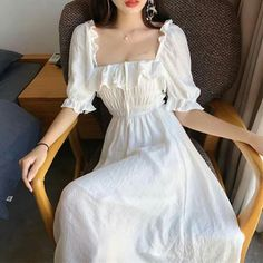 buy RUGOD Women maxi dress solid ruffles puff sleeve square collar a-line tie beach style long dress 2019 new summer fashion elegant Pretty Outfits, Pretty Dresses, Cute Outfits, Awesome Dresses, Formal Outfits, Girl Outfits, Boho Dress, Dress Up, Ruffle Dress