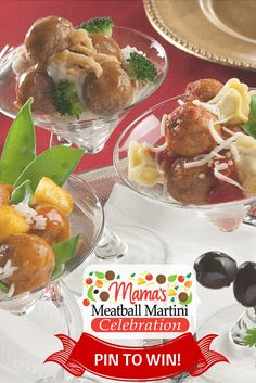 With Mama Lucia Meatballs warming in a slow cooker and a festive spread of different toppings, you and your guests can get creative! Cheers!    For more ideas on how to create your own festive Meatball Martini Celebration and to WIN a Meatball Martini Gift Pack and other great prizes click here: http://mamaluciameatballs.com/recipes/martinis.html #party #celebration #holiday #recipes