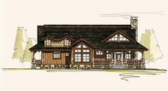 LeConte Front Elevation -- Natural Element Homes