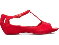 Camper brand.  Sinuosa, a red open sandal with a 4.5cm platform made of suede. RED SHOES from SEASON ONE FIxer Upper